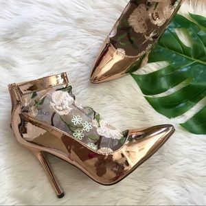 Chase + Chloe Patent Rose Gold Lace Sock Heels